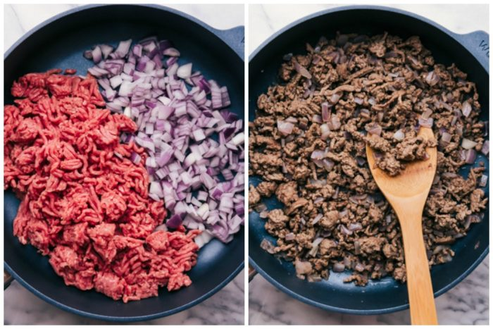 Two skillets showing how to prepare beef taco skillet. The skillet on the right has the uncooked ground beef and diced red onions, the skillet on the right shows the ground beef and onions cooked, by The Food Cafe.