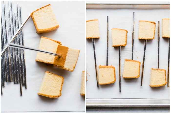 Two in process images, the image on the left shows how to insert decorative straw into pound cake, the image on the right shows the pieces lined up on a silver baking sheet, to make chocolate dipped cake pops, by The Food Cafe