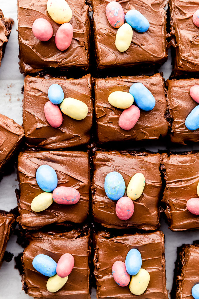 Easter brownies cut into large square pieces with chocolate frosting and decorated with easter candy eggs on a white background, by The Food Cafe
