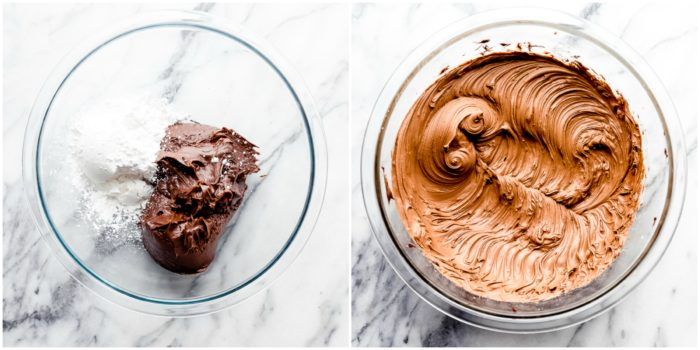 Two images showing how to make chocolate frosting for Easter brownies using a glass bowl on a white background, by The Food Cafe