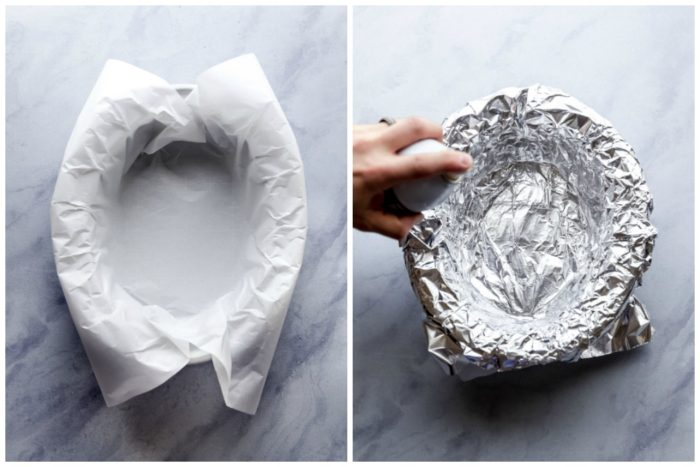 step one making slow cooker chocolate chip banana bread, the image on the left shows the slow cooker lined with a white piece of parchment paper on a grey-white background, the image on the right shows the parchment paper covered with a piece of aluminum foil and being sprayed with cooking spray, by The Food Cafe.