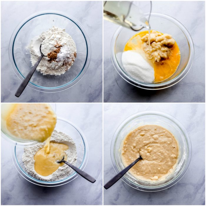 four pictures showing the steps in making chocolate chip banana bread beginning with the dry ingredients then adding in the wet ingredients and mixing with a black spoon on a white-grey background by The Food Cafe.