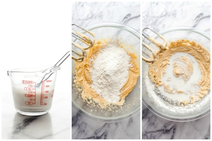 Three images, the first images shows a glass measuring cup filled with milk and greek yogurt whisked together. The second images shows the raspberry muffin batter mixed with flour mixture, the last image shows the muffin batter being mixed with milk/yogurt combination by The Food Cafe