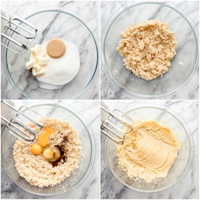 Four images showing how to mix blackberry muffin ingredients. The first image on the upper left shows a glass mixing bowl with sugar, brown sugar and butter, in the image on the upper right it shows the sugar, brown sugar, and butter mixed together, the image on the lower left shows the glass bowl with the mixed sugars with 3 eggs and almond extract added, the last image on the lower right shows a clear glass bowl with the eggs and vanilla all mixed, by The Food Cafe.