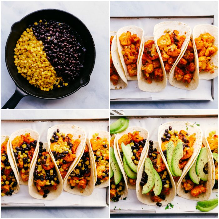 Four images showing how to put together cauliflower tacos. Warming corn and black beans in a skillet then adding buffalo cauliflower to flour tortillas, topping them with corn, black beans, avocado and crema Mexicana perfect for cinco de mayo by The Food Cafe.