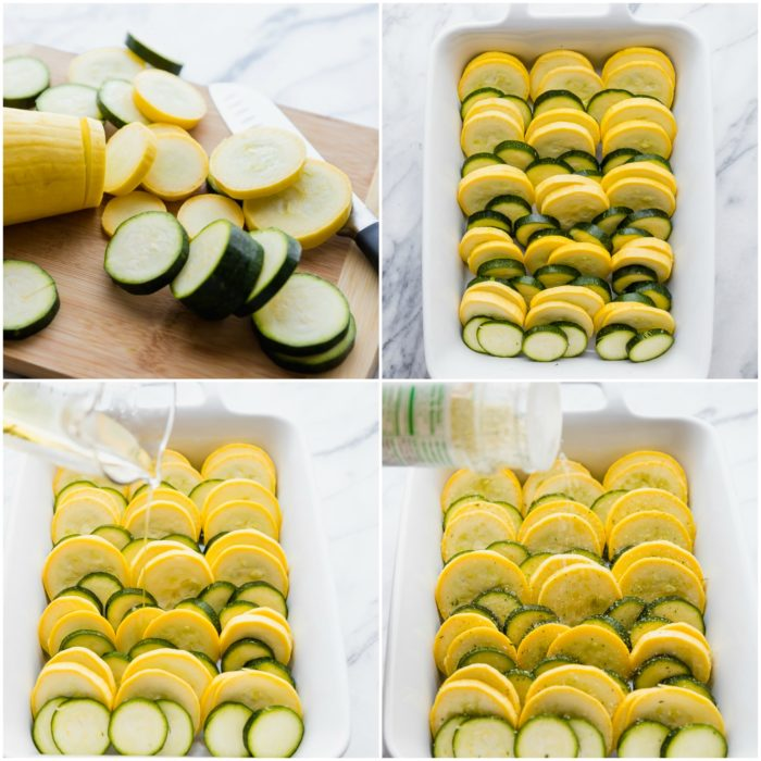 Four steps making squash and zucchini casserole. The first steps shows slicing the squash and zucchini, the second video shows lining the squash and zucchini in a white casserole dish. The third image shows pouring avocado oil over the top of the vegetables, the fourth image shows seasoning the squash and zucchini casserole, by The Food Cafe.