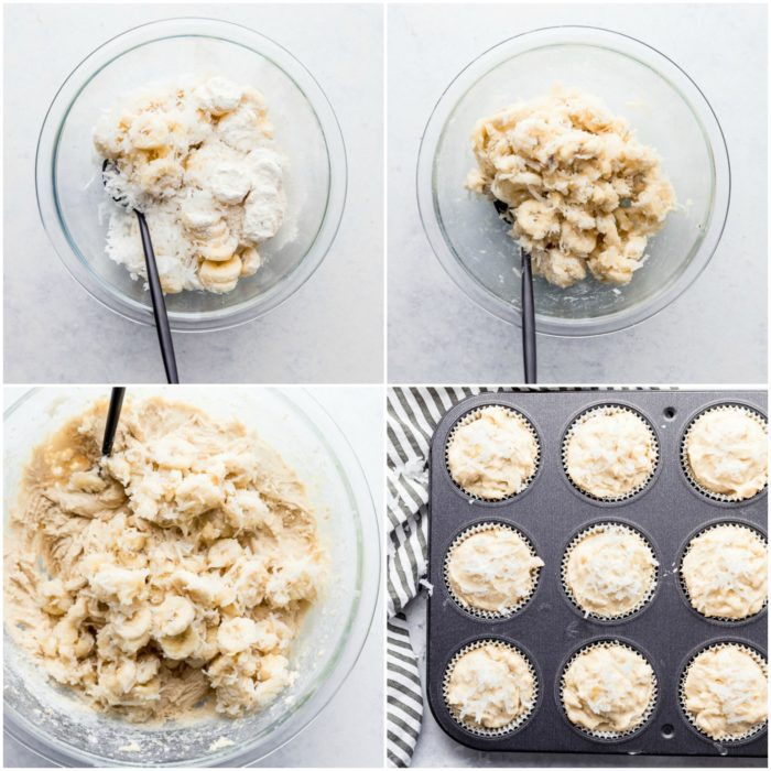 four images on a white background using a glass mixing bowl showing the bananas, coconut, and flour mixed together, adding it to the prepared batter and placing it into the prepared muffin pan to make banana coconut muffins by The Food Cafe.