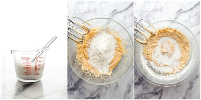 Three images on a white background showing how to mix the greek yogurt and milk, then add in the flour and and milk mixture to combine with electric mixer for banana coconut muffins by The Food Cafe.