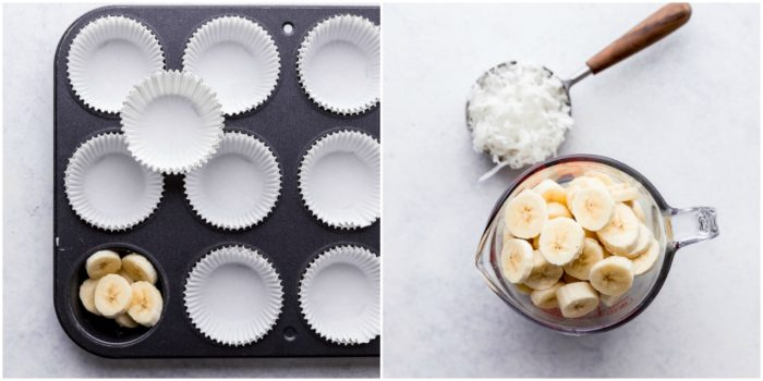 Two images the first images shows a dark muffin tin lined with white muffin liners and the second images shows sliced bananas in a 4 cup glass measuring cup and shredded coconut in 1 cup measuring cup ready for banana coconut muffins, by The Food Cafe