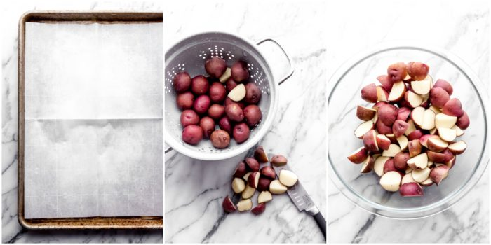 Three images showing the steps how to make roasted red potatoes. The first image shows a baking sheet lined with parchment paper, the second image shows cutting potatoes into quarters on a white surface, the third image shows cut red potatoes in a clear glass mixing bowl on a white surface, by The Food Cafe.