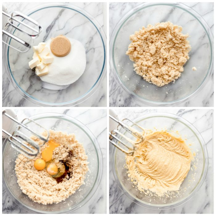 Four images on a white background using a medium glass bowl showing how to cream sugar, butter, brown sugar, eggs and vanilla for banana coconut muffins by The Food Cafe.