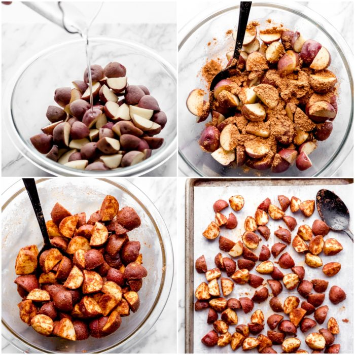 Four images showing the second steps of how to make oven roasted red potatoes. The first image shows cut potatoes in a clear glass bowl having coconut oil poured over the top. The second image shows the cut potatoes seasoned with taco seasoning and black pepper. The third images shows the potatoes mixed with seasoning and the fourth images shows the red potatoes spread out on the prepared sheet pan, by The Food Cafe.