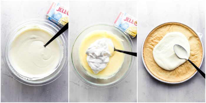 Three images in a glass mixing bowl showing the different stages of making the whipped vanilla pudding for the sugar cookie fruit pizza, by The Food Cafe.