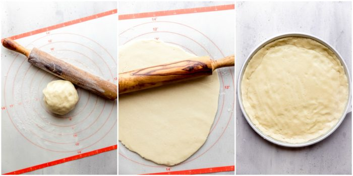 Three images, the first image shows the sugar cookie dough with a rolling pin on a mat dusted with flour, the second one shows the sugar cookie dough rolled out and the third image shows the sugar cookie dough in a round cookie tin to be cooked, by The Food Cafe.