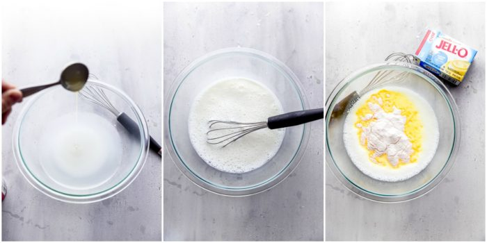 Three images on a white background with a glass mixing bowl, showing whisking together water and sweetened condensed milk and instant vanilla pudding to use on the sugar cookie fruit pizza, by The Food Cafe.
