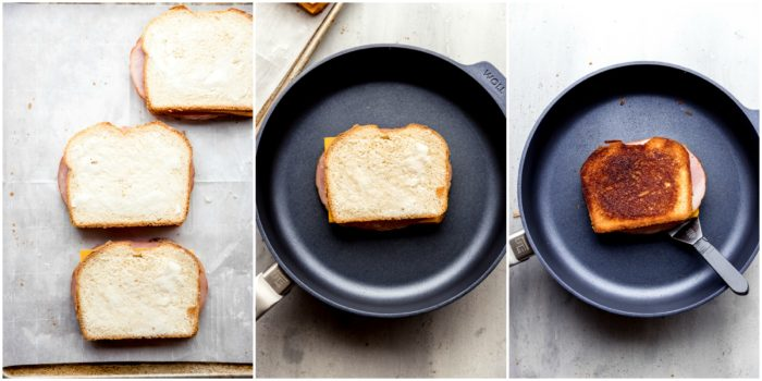 Three images of grilled ham and cheese sandwiches, the first images shows the sandwiches put together ready to grill, the second image shows the ham and cheese sandwich in the fry pan and the third images shows the ham and cheese grilled to golden brown, by The Food Cafe.