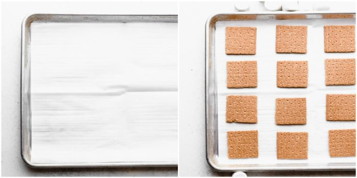 two images showing a sheet pan lined with white parchment paper and the other images shows the sheet pan with white parchment paper topped with graham crackers, by The Food Cafe.