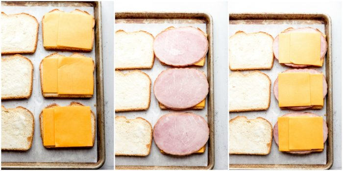 Three images showing the grilled ham and cheese sandwiches layered with cheese, ham, and more cheese on a sheet pan on a white background, by The Food Cafe.