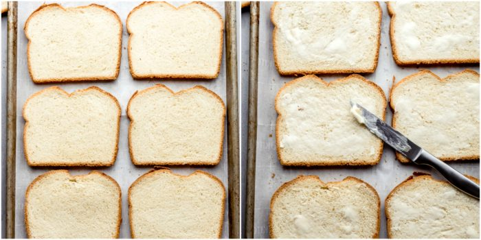 Tow images showing the first steps in making grilled ham and cheese sandwiches. The image on the left shows the bread lined on a sheet pan, the image on the right shows the slices of bread buttered on one side, by The Food Cafe
