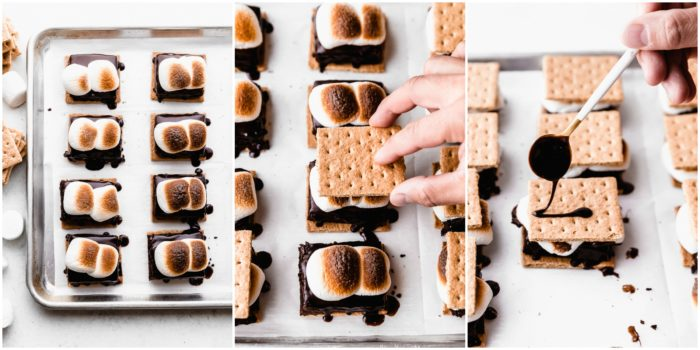 Three images on a white background showing a sheet pan lined with white parchment paper stacked with indoor s'mores that have been roasted and being topped with an additional graham cracker and hot fudge being drizzled on top, by The Food Cafe.