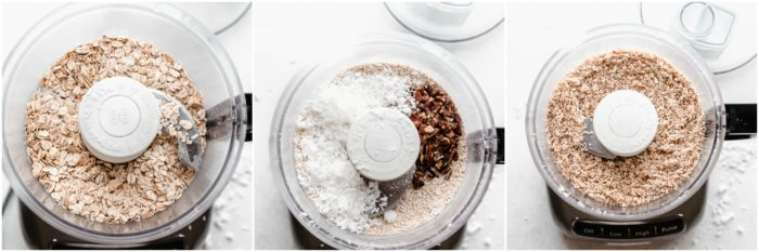 Three images showing rolled oats, shredded coconut, and pecans in a food processor on a white background then mix together to form a fine texture, by The Food Cafe.