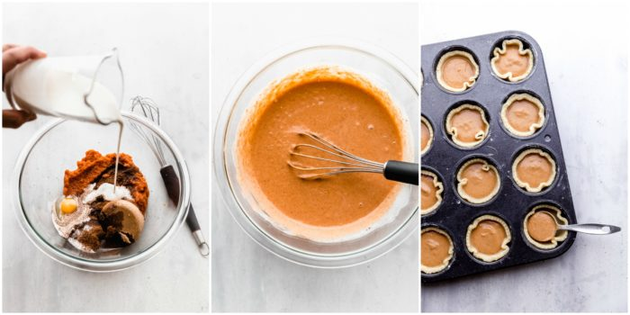 three images on a white background showing how to make mini pumpkin pie batter in a clear mixing bowl and placing it in the prepared cookie crust in a muffin tin by The Food Cafe.