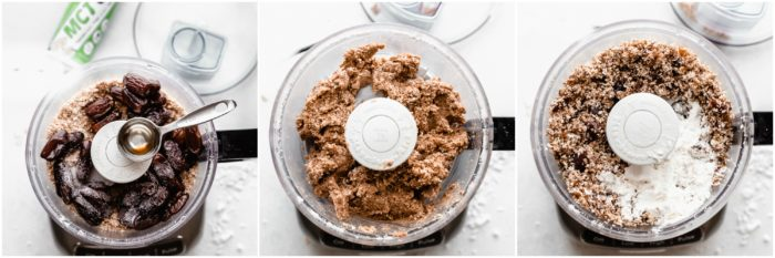 Three images showing adding dates, MCT oil, and protein powder to a food processor to make protein balls, by The Food Cafe