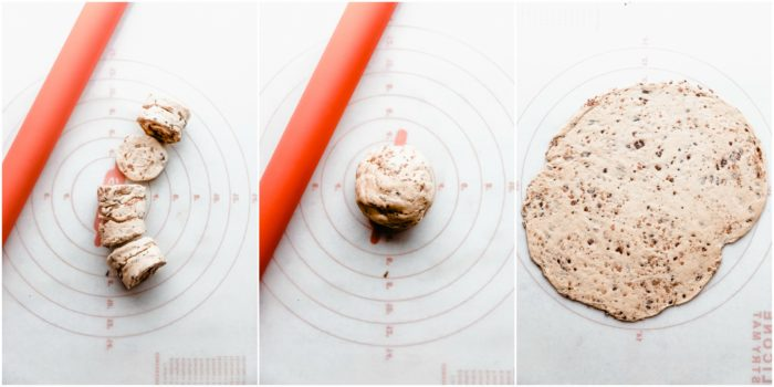 Three images showing cinnamon rolls on a white floured surface with orange rolling pin, second image shows all the cinnamons put together forming a ball and the third image shows the cinnamon rolls rolled out flat into a rectangle, by The Food Cafe.