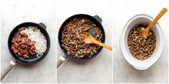 Three images showing a dark skillet with ground sausage and diced onions in it, cooked and placed into a white crockpot ready for stuffed pepper soup, by The Food Cafe