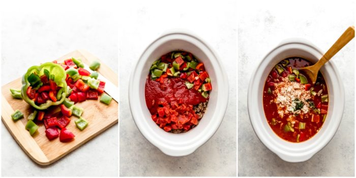 Three images showing diced red and green peppers being added to a white crockpot along with tomato sauce, diced tomatoes, and rice to make stuffed pepper soup by The Food Cafe.