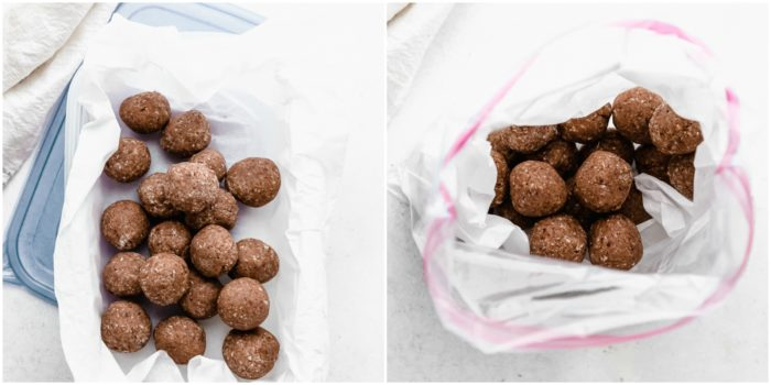 Showing how to store protein balls, either in a airtight plastic container or gallon sized freezer bag lined with parchment paper, by The Food Cafe.