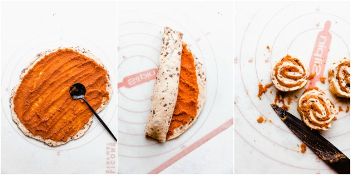 three images of pumpkin cinnamon rolls. The first shows spreading the pumpkin puree out on the cinnamon rolls, then rolling the dough up and slicing into rolls. by The Food Cafe