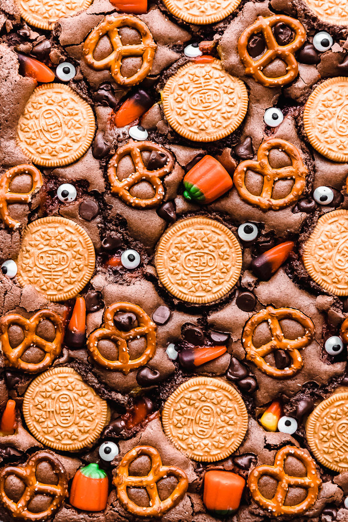 close up of halloween brownies by The food cafe.