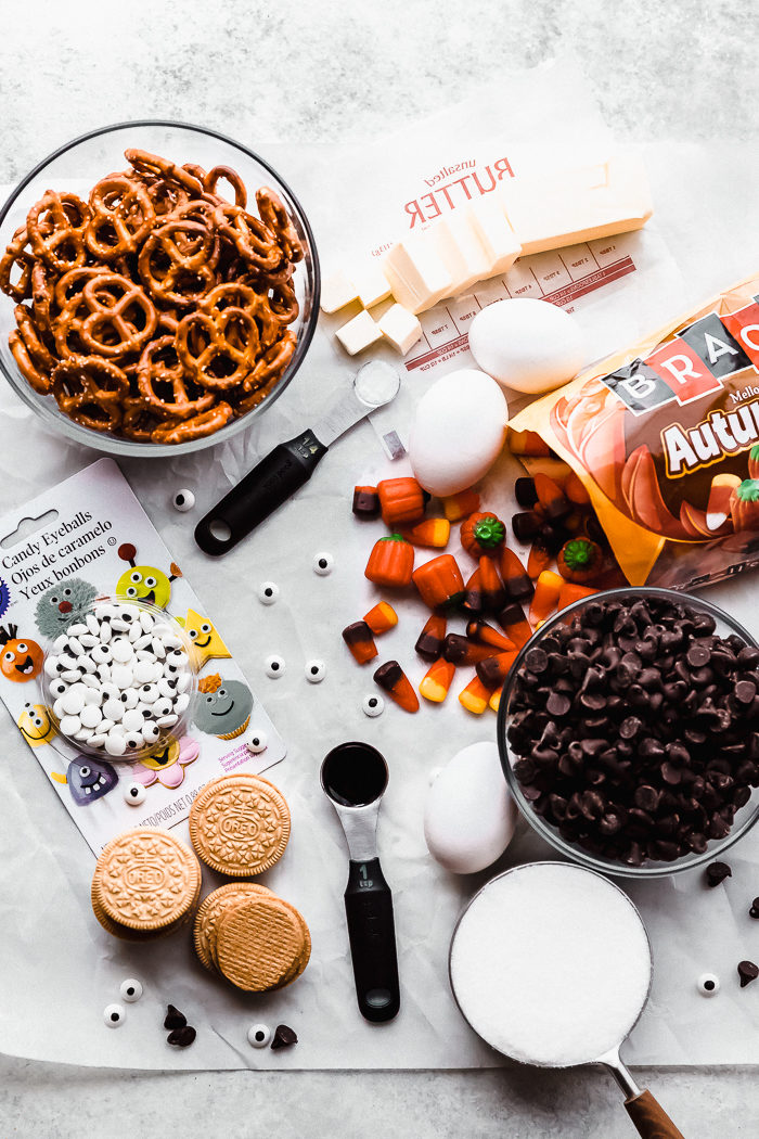 All the ingredients needed to make these easy halloween brownies on a white background, by The Food Cafe.