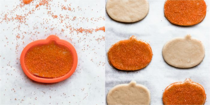 Two images of halloween sugar cookies, one shows putting sprinkles on the top of the sugar cookies on a white background, and the other showing the sugar cookies on a white piece of parchment paper ready for the oven, by The Food Cafe.