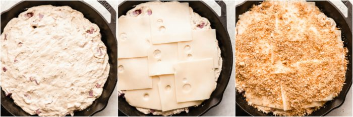 Three images of a a black skillet showing the sauce being placed on top of the ham, followed by the slices of swiss cheese, and crumbled croutons by The Food Cafe.