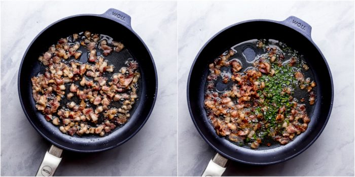 Two images showing the first step in making mashed potato soup, cooking the bacon and chives in a frying pan by The Food Cafe.