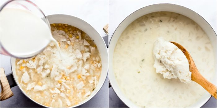 showing the third step making mashed potato soup, adding in milk and mashed potatoes into large soup pot by The Food Cafe.
