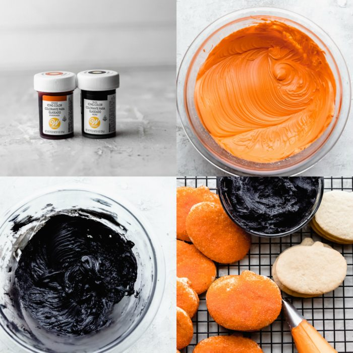 Four images showing how to make orange and black frosting for halloween sugar cookies, by The Food Cafe.
