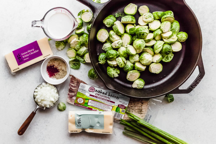 ingredients needed for oven baked brussels sprouts with bacon, by The Food Cafe