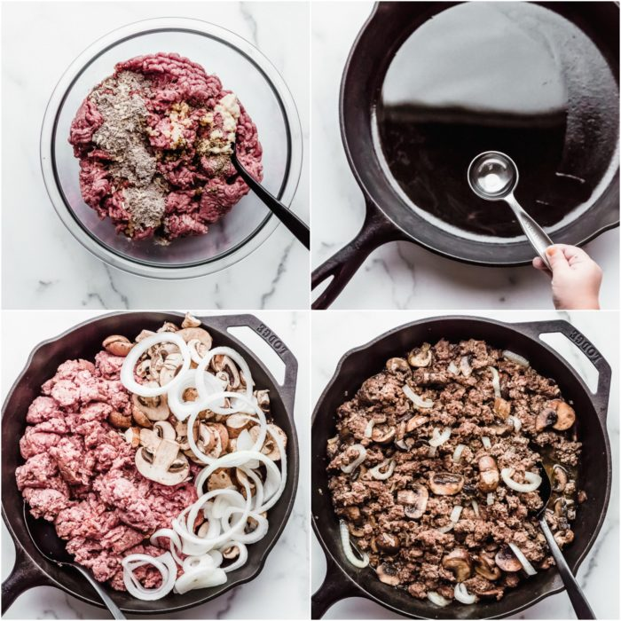 Four images showing the first steps to cooking the ground beef, mushrooms, and onions for salisbury steak by The Food Cafe.