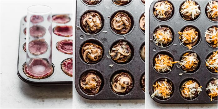 Three images showing how to make a well inside the meat in the muffin cups, topping the meat with mushrooms and onions, and then with two kinds of cheese to make keto cheeseburger muffin cups by The Food cafe.