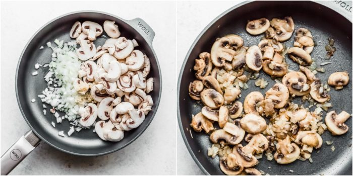 Two images cooking mushrooms and onions in a dark skillet for keto muffin cups, by the food cafe.