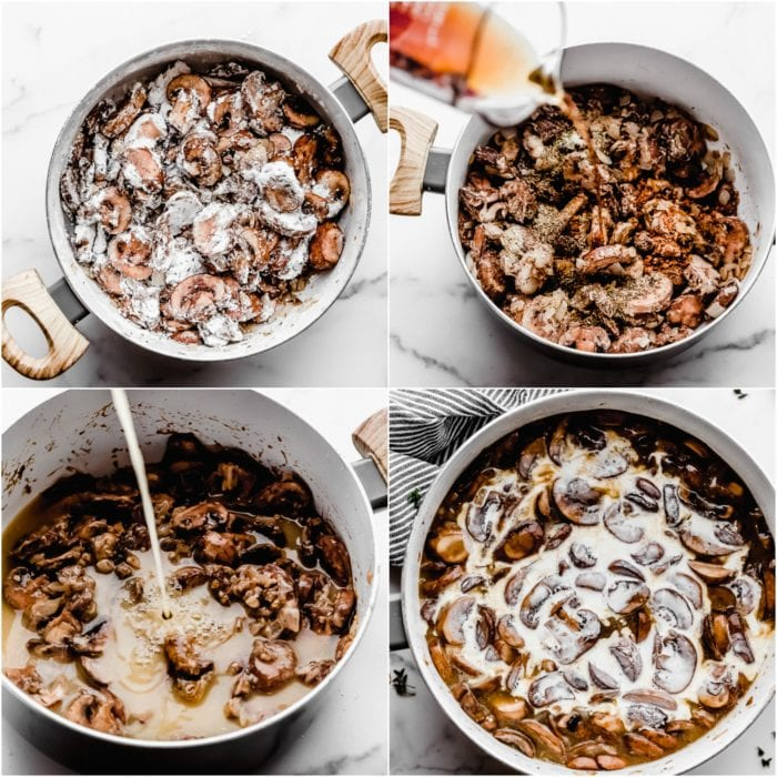 Instructions on how to make homemade cream of mushroom soup in a stockpot with mushrooms, marsala wine, chicken broth, and heavy cream, by The Food Cafe.
