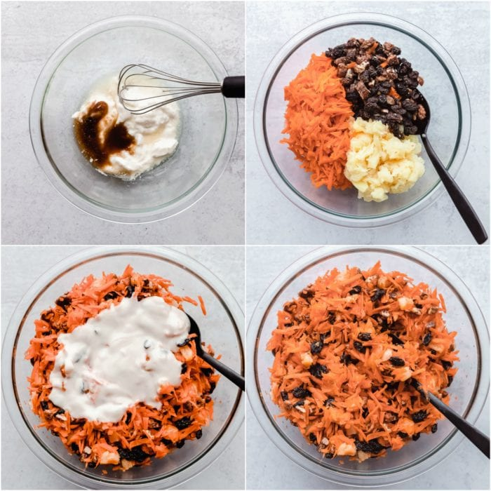 Four images showing the step by step process of how to make carrot salad, by The Food Cafe.