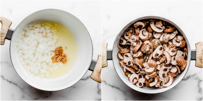 A white background with a large stockpot showing chopped onions and garlic in melted butter, and another images showing the mushrooms and thyme being added, by The Food Cafe.
