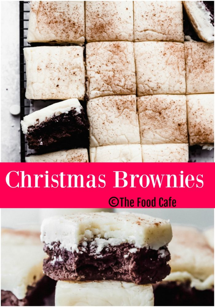 Christmas brownies with eggnog frosting by The Food Cafe