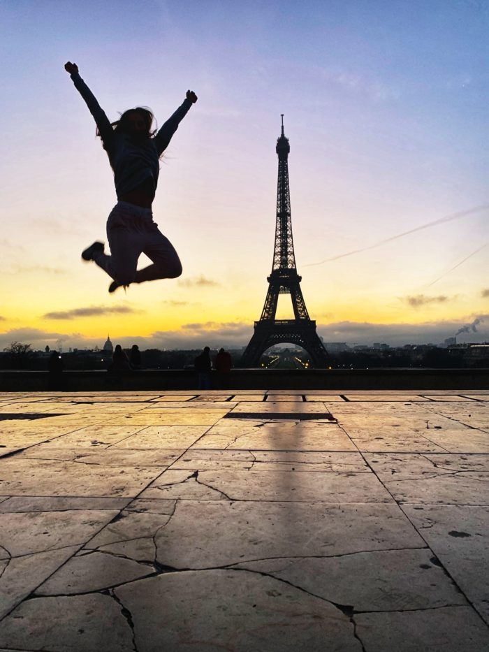Jumping for joy in front of the Eiffel Tower that it is time to set my new year resolution, by Ladywarrior