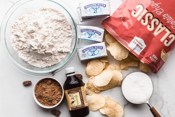 The ingredients needed to make the best potato chip cookies, by The Food Cafe